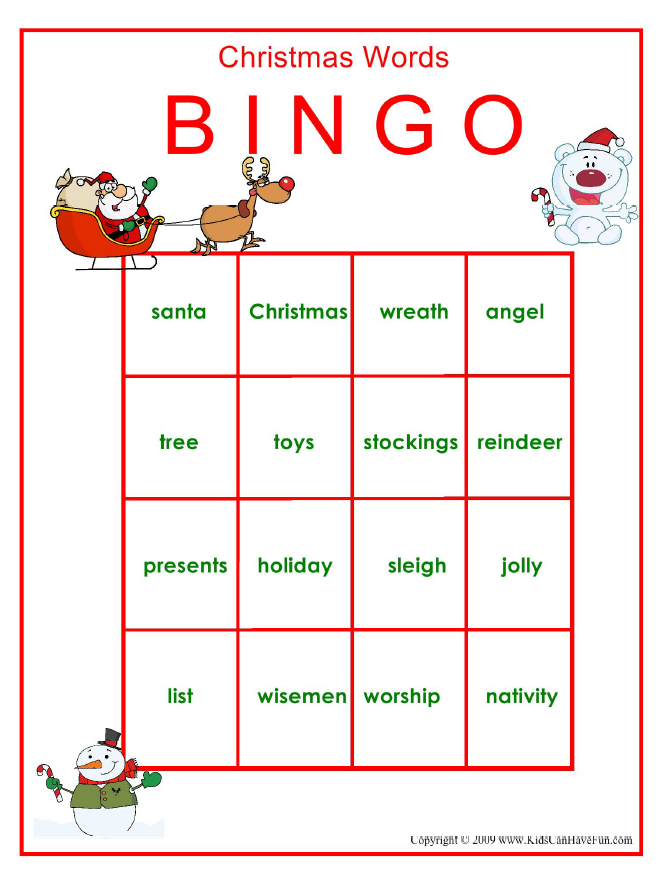 1 Of 7 Http Www Kidscanhavefun Com Holiday Games Htm Christmas Words Christmas Bingo Christmas Bingo Game