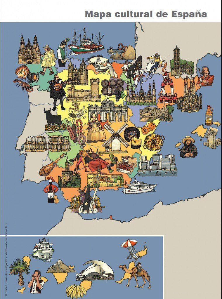 Carte De L Espagne Culturelle Ii Espagne Carte Culture