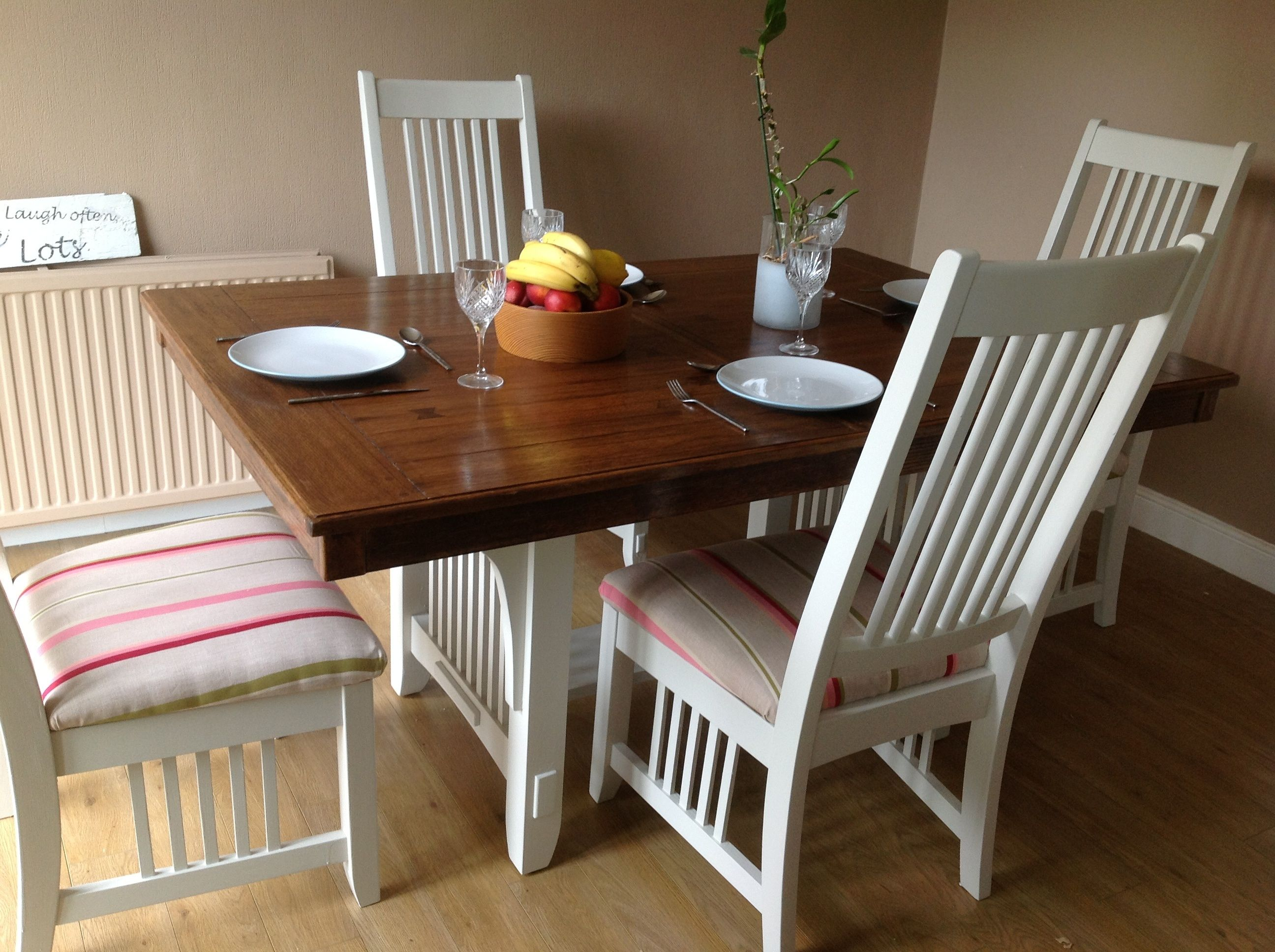 Fabulous restored solid hard wood dining table and four chairs