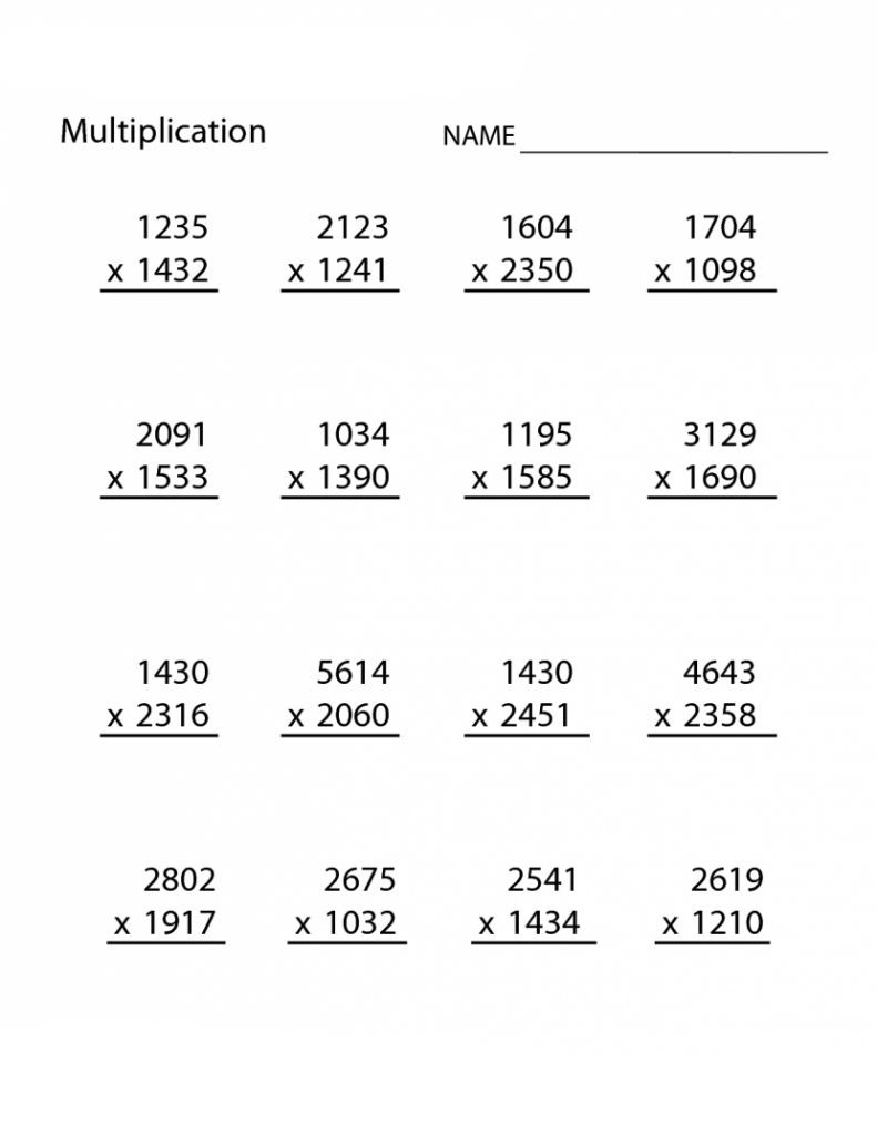 4th Grade Multiplication Worksheets Grade 5 math