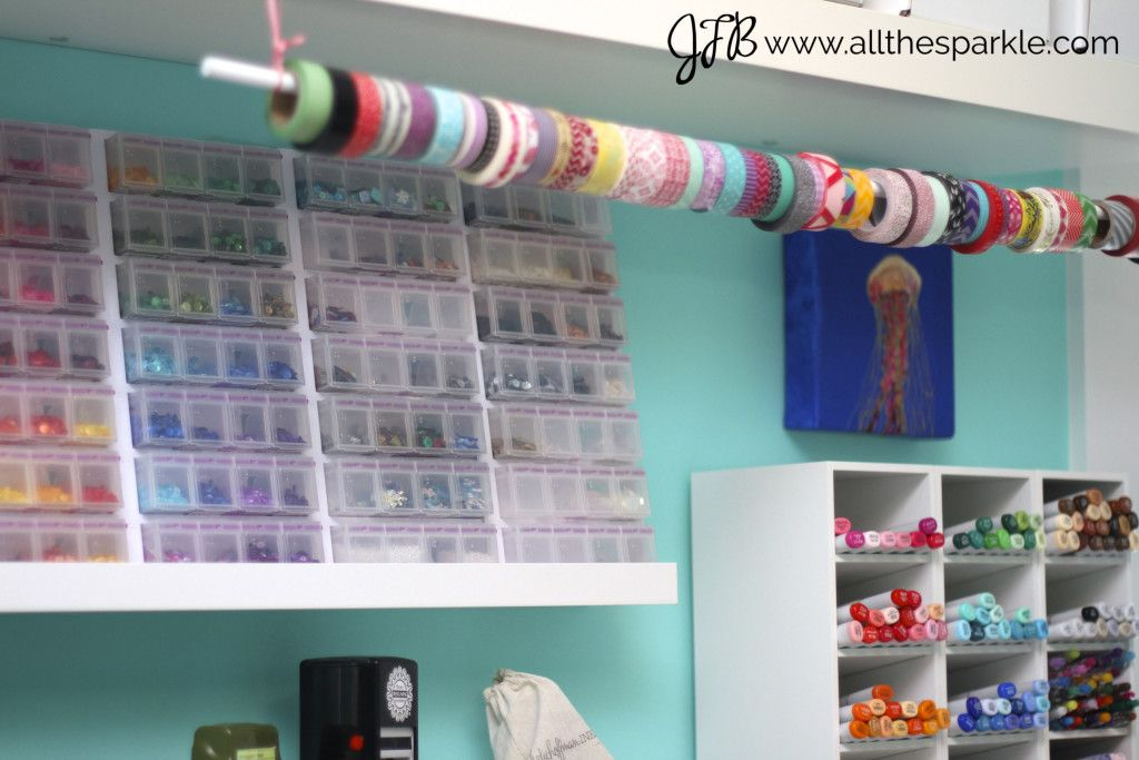 Sequin and washi tape storage