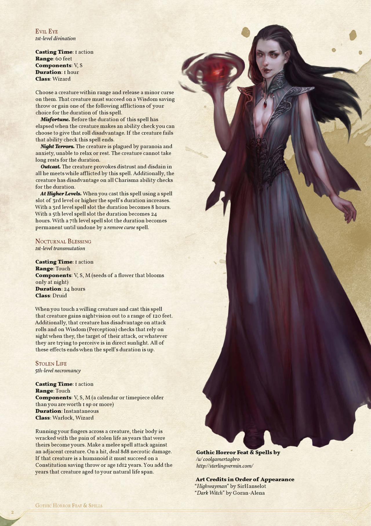 DnD 5e Homebrew — Gothic Spells by coolgamertagbro / Sterling Vermin