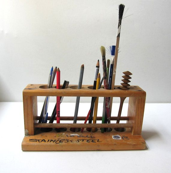 Vintage wooden school science lab test tube holder desk tidy with vintage wooden school science lab test tube holder desk tidy with child graffiti gumiabroncs Images