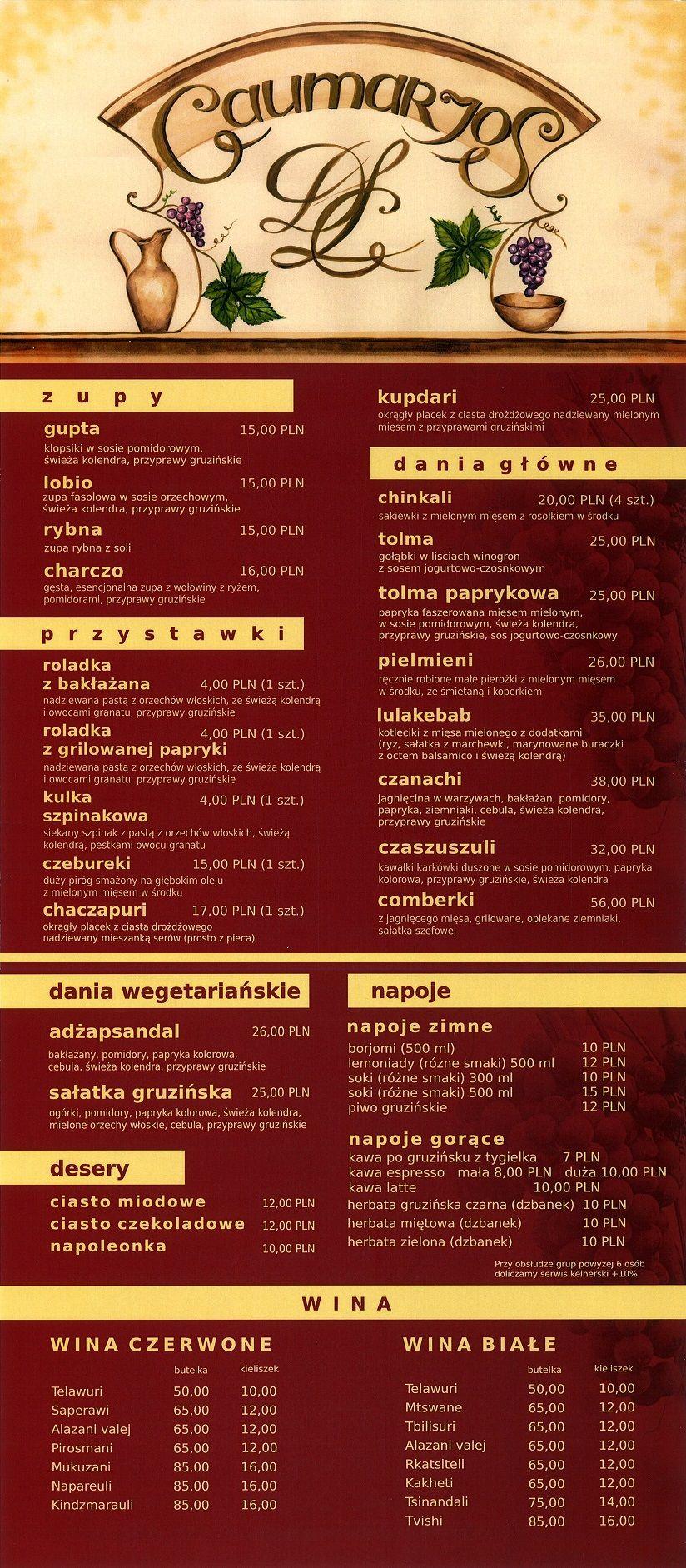 Gaumarjospl Restauracja Gruzińska Warszawa Food Menu