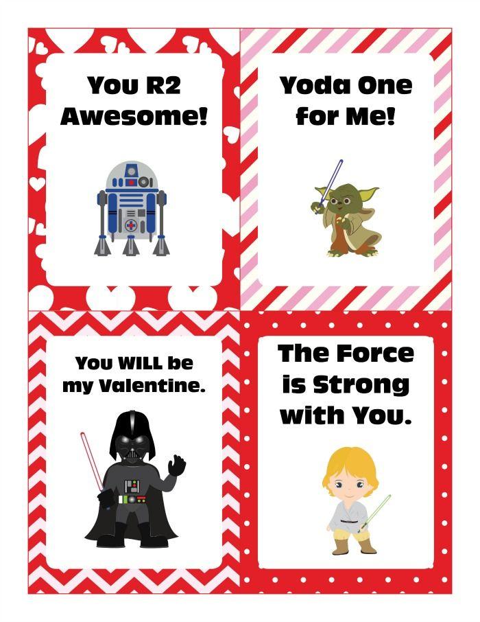 star wars valentine cards free printable - Valentine Card Printables Free