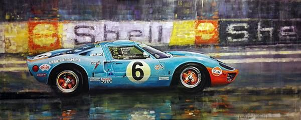 Motor Racing Art 1969 Le Mans 24h The Ickx Oliver Ford Gt40