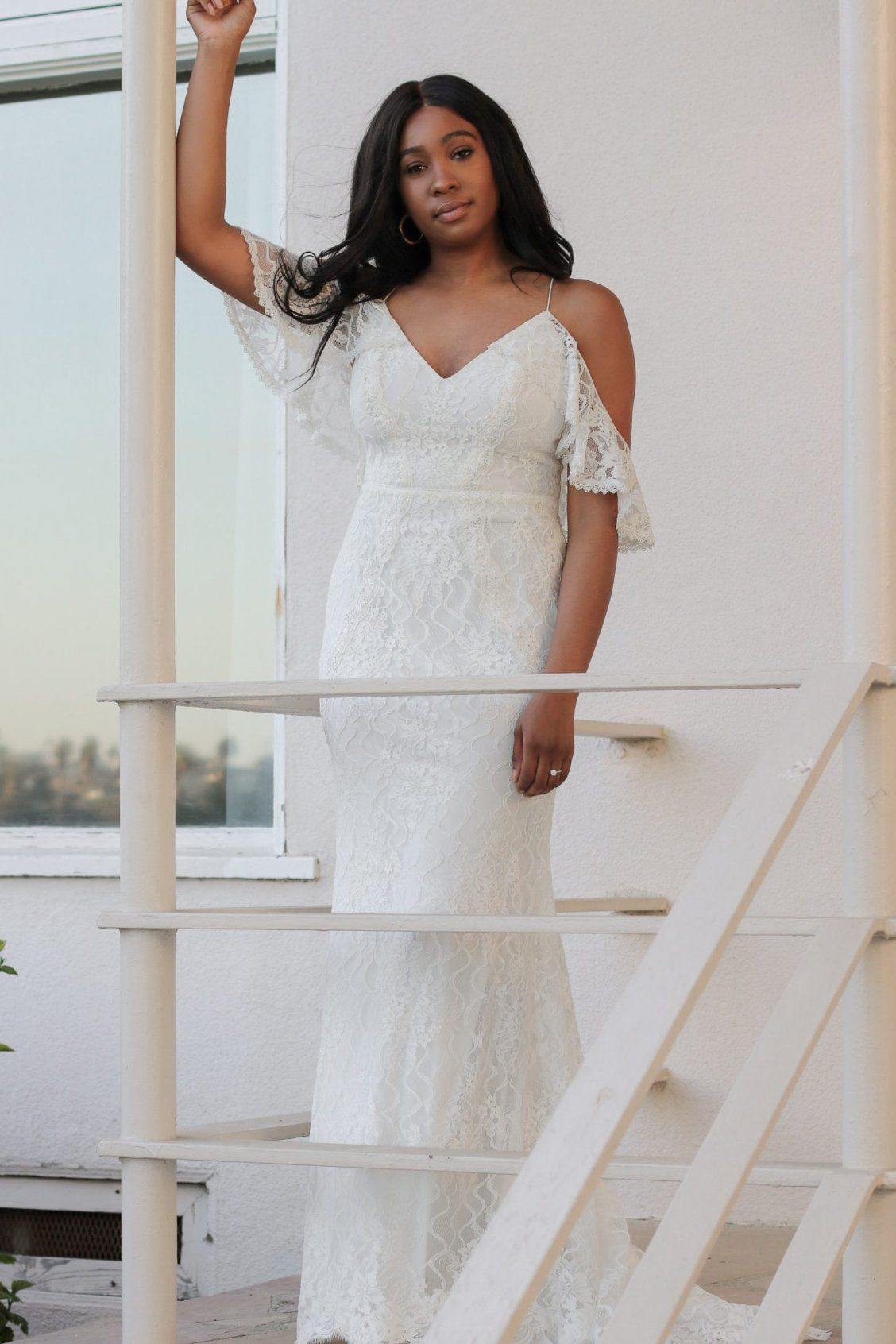 Simply Tandya  Lace Cold Shoulder Wedding Dress with Ruffled