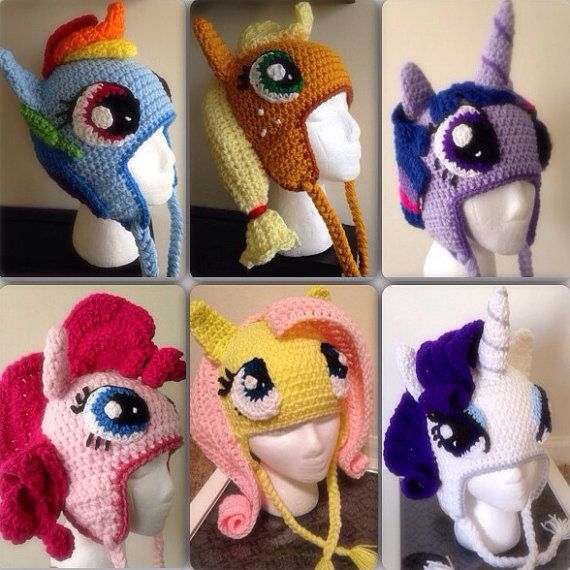 b985ba1d158 Mane Six Pony Crochet Beanie Hat Collection on Etsy