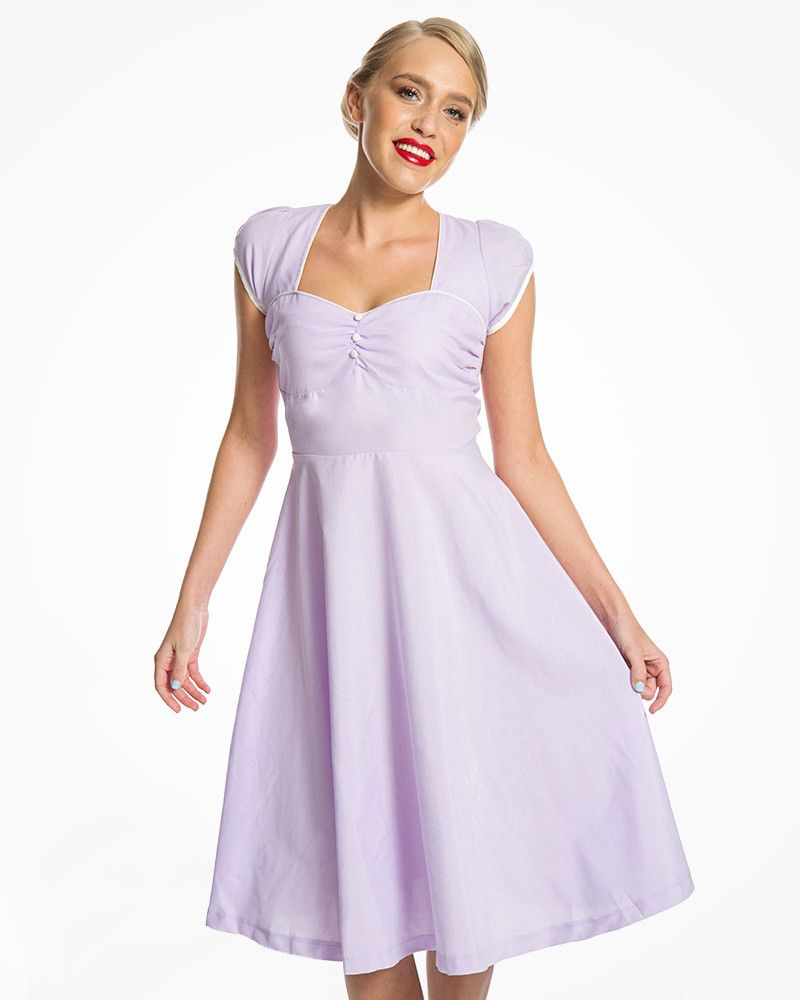 44fbde1ed29e4 Bella' Flattering 1950s Inspired Lilac Swing Dress in 2019 | pinup ...