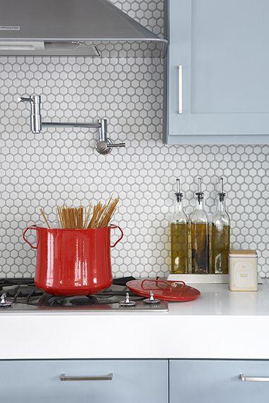 Kitchen With Penny Tile Back Splash Penny Tiles Kitchen Blue Kitchen Cabinets Penny Tile Backsplash