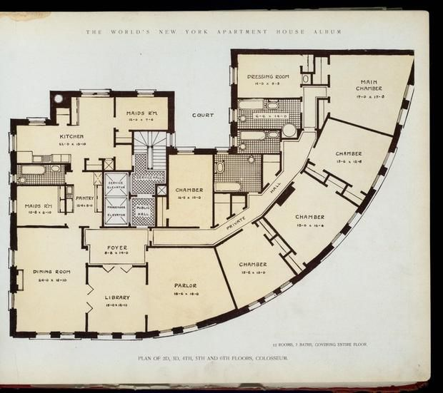 10 elaborate floor plans from pre wwi nyc apartments for Apartment floor plans new york city