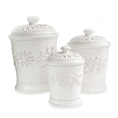 Stow Dry Ingredients In The Kitchen Or Hair Accessories In Your Master  Suite With This Earthenware Canister Set, Showcasing A Lovely Vine Motif.