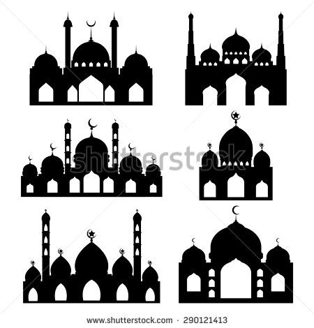 Vector Mosque shapes / Arabic Mosque vector silhouette