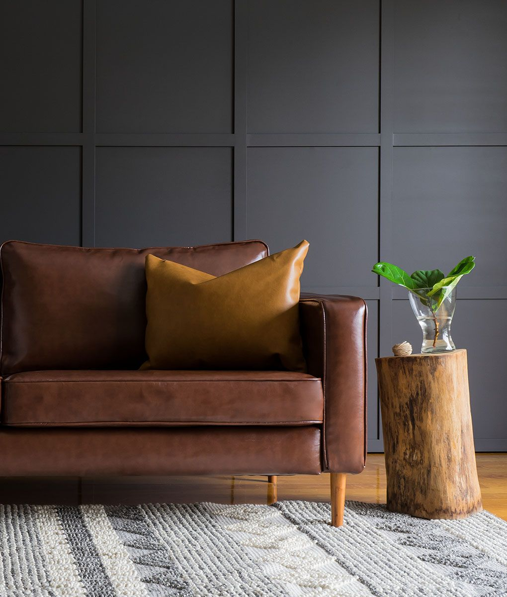 Ikea Karlstad 3 Seater Sofa Covered With Urbanskin Chestnut Bycast Leather Collection Slipcover From Comfort W Ikea Sofa Covers Leather Sofa Covers Couch Decor