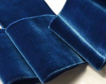Vintage French Velvet Ribbon Trim 72mm Wide Royal Blue Velvet Ribbon by the yard, Vintage