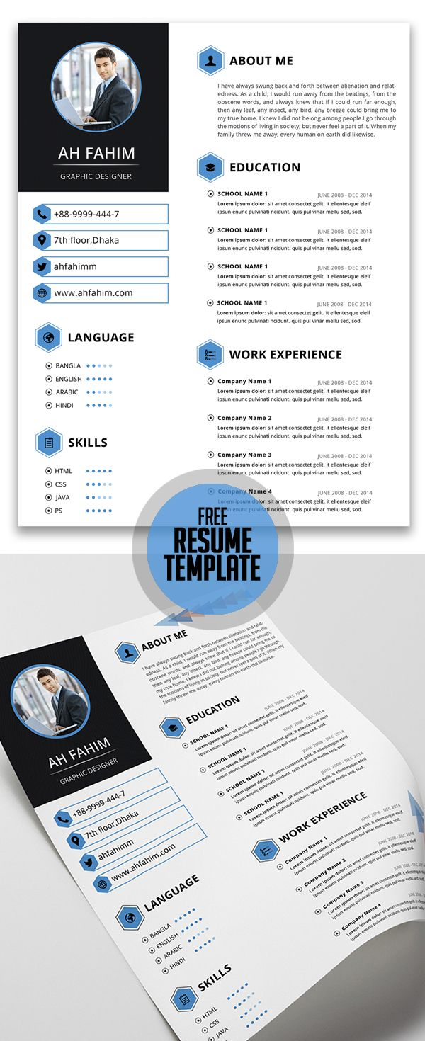 Free Resume Template For Everyone Cvs Design Pinterest