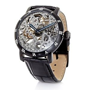 Timepieces by Randy Jackson Unisex Skeleton Dial Leather Strap Watch at HSN.com.