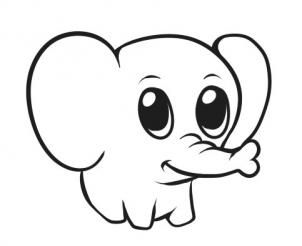 How to Draw a Simple Elephant, Step by Step, safari animals ...
