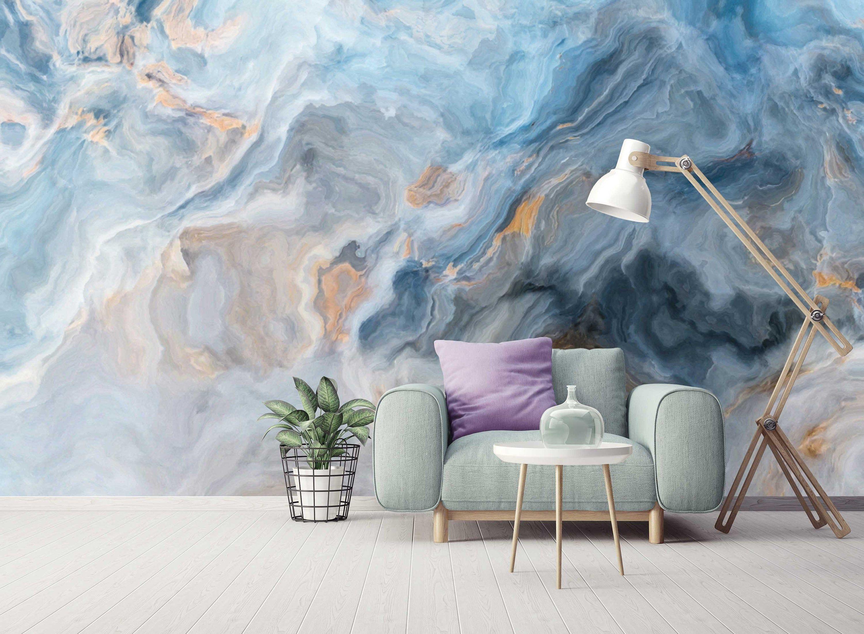 Marble Pattern Blue Gray Abstract Wallpaper Self Adhesive Peel Etsy Home Decor Wall Art Mural Wallpaper Wall Wallpaper
