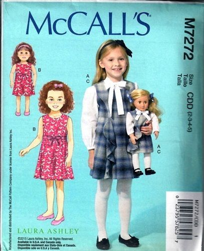 6a5a0ef51 SEWING-PATTERN-MAKE-GIRL-DOLL-MATCHING-JUMPER-BLOUSE-DRESS-FITS ...