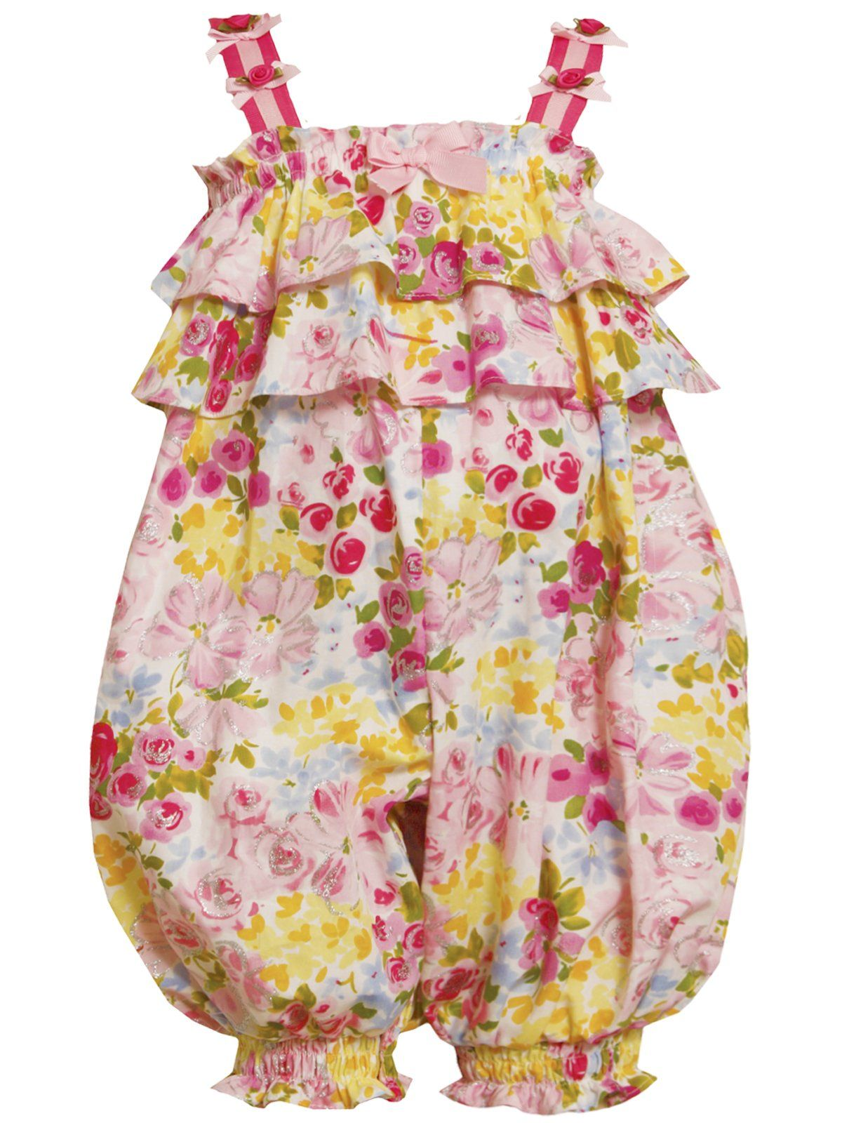Size-0/3M, Pink, BNJ-8636R, Tiered Ruffle Glitter Floral Print Romper,Bonnie Jean Baby-Newborn Baby Party Dress Outfit