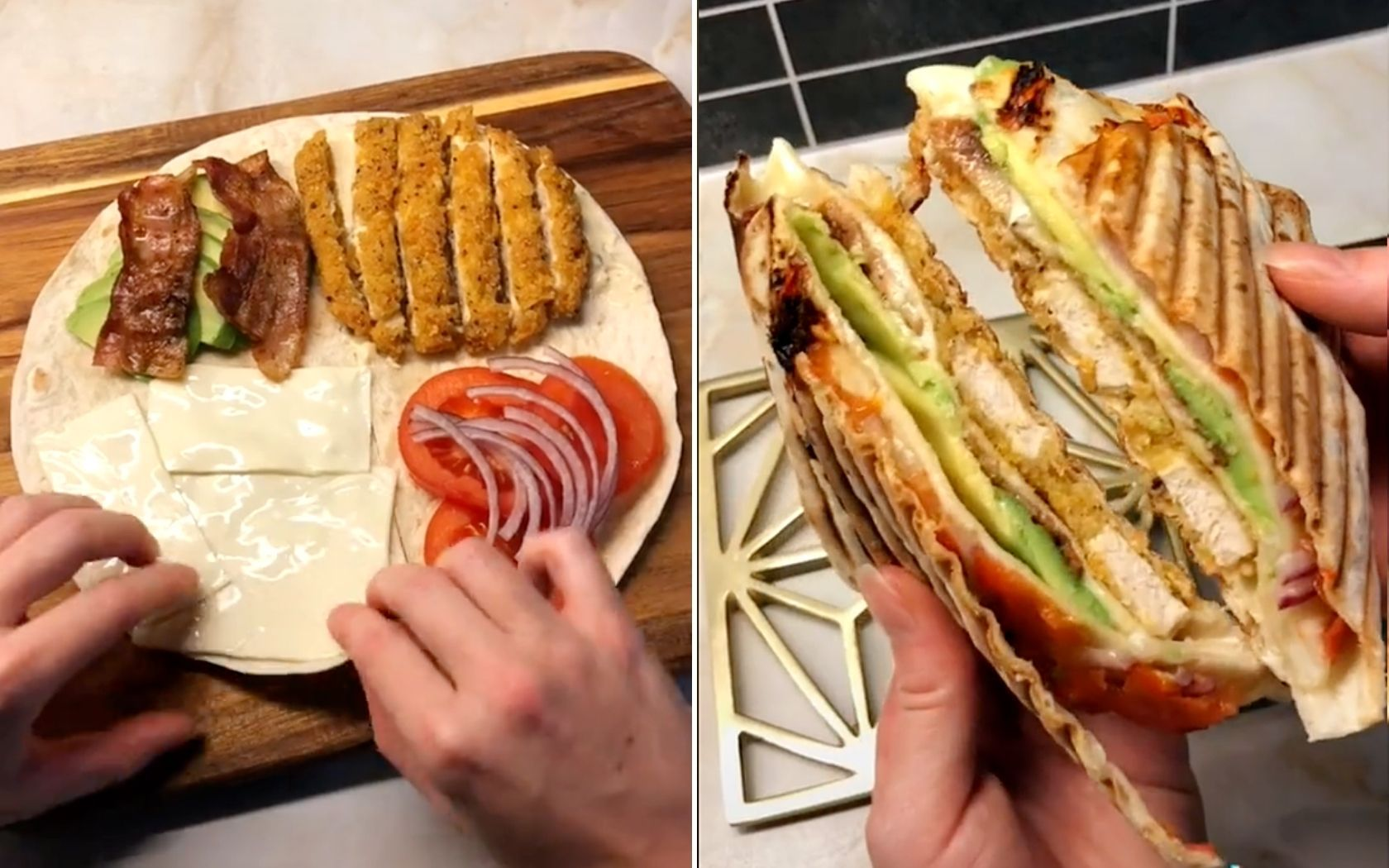 This Tiktok Wrap Hack Will Change The Way You Make Them Forever In 2021 Delicious Healthy Recipes Food Hacks Food