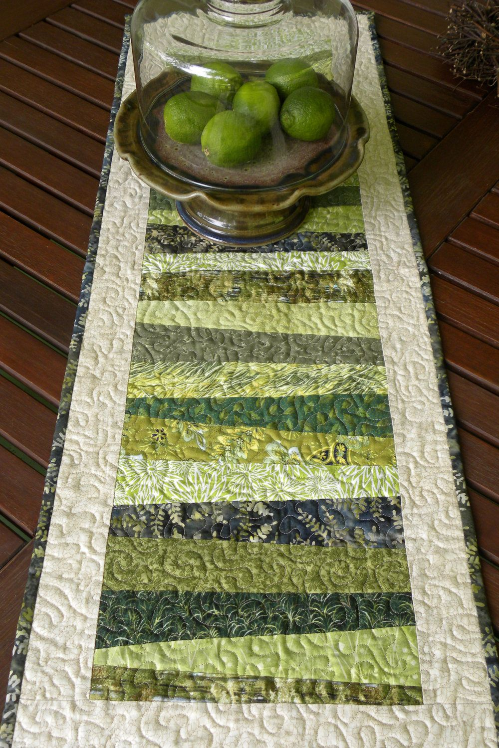 Walk In The Woods Quilted Table Runner 52 00 Via Etsy
