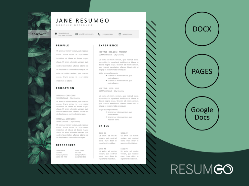 LACHESIS Botanical Resume Template in 2020