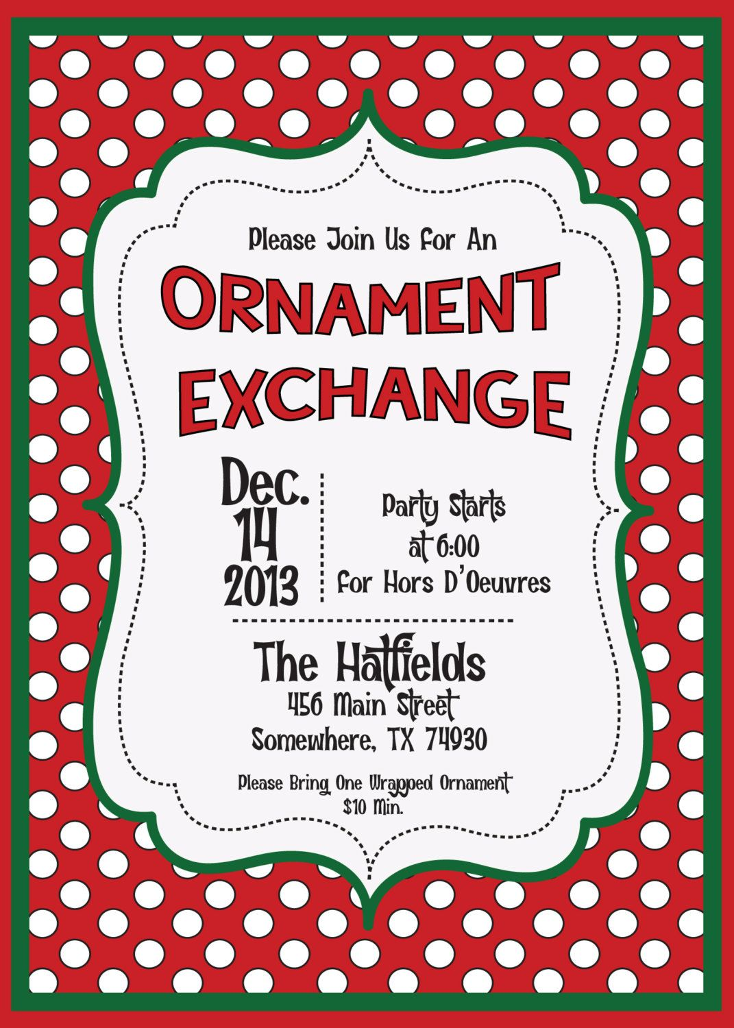 Holiday+Invite+Christmas+Ornament+Exchange+Swap+by+MolsDesigns,+$ ...