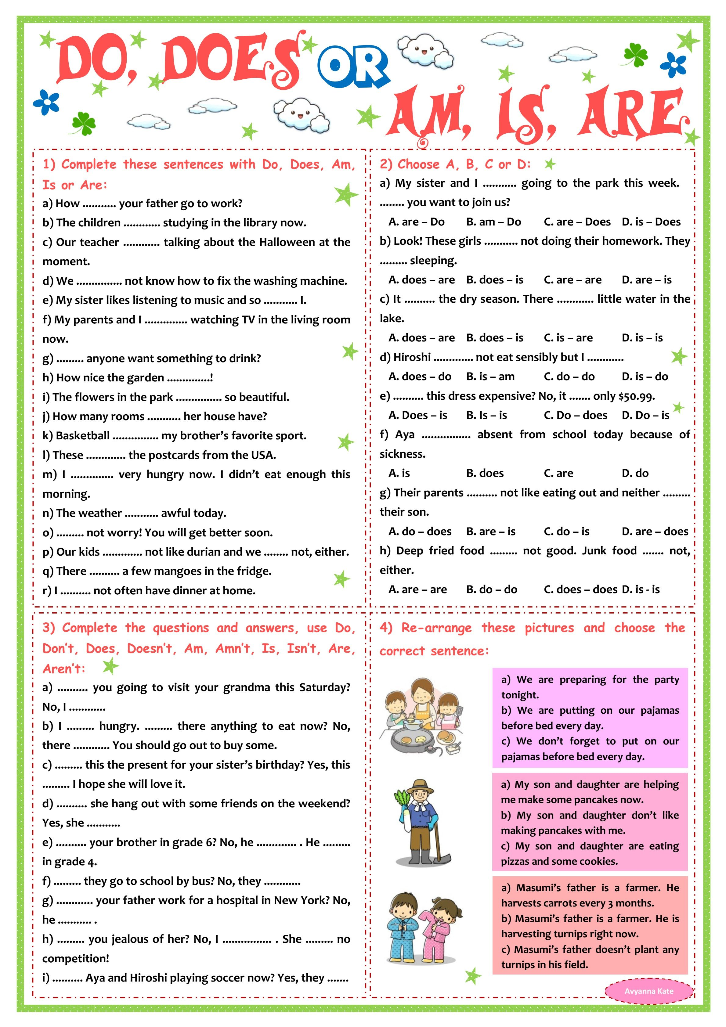 Do Does Vs Am Is Are Worksheet P5 In