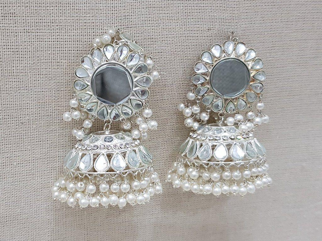 Silver Mughal Large Mirror Chumke Silver Jewelry Large Mirror