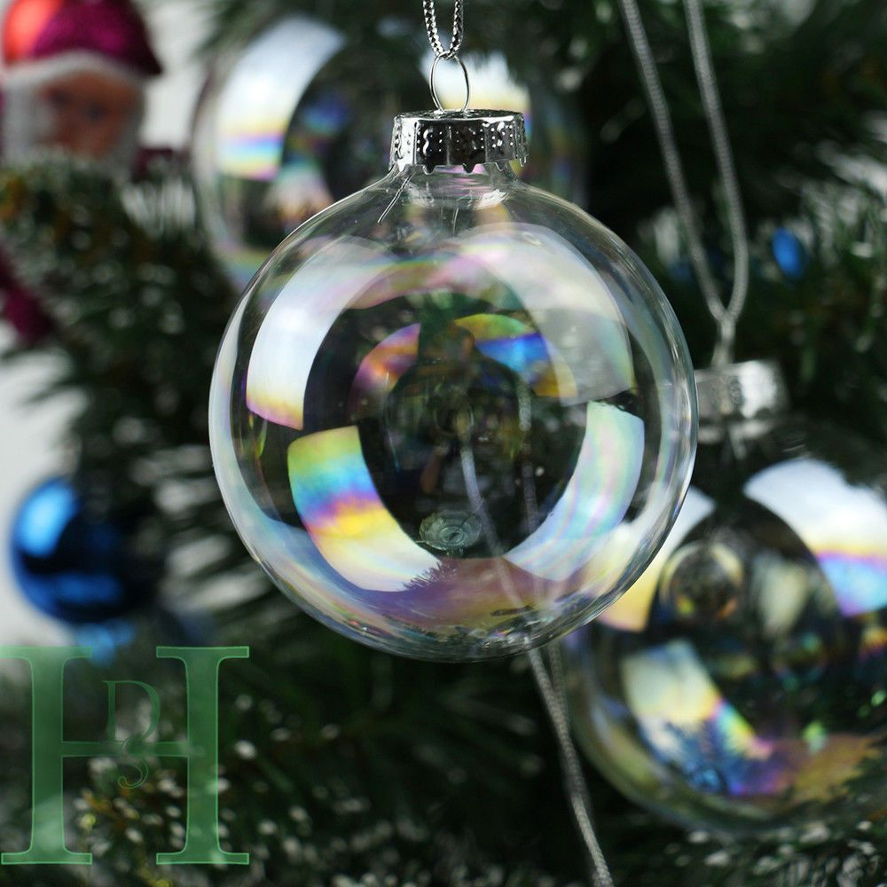Decorating Glass Ball Ornaments 12243648Pcs Clear Iridescent Glass Baubles Balls Christmas
