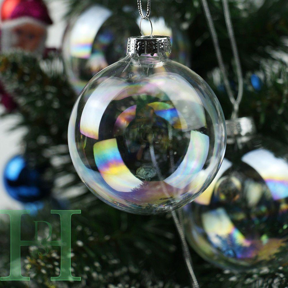 Decorating Glass Ball Ornaments 12243648Pcs Clear Iridescent Glass Baubles Balls Christmas