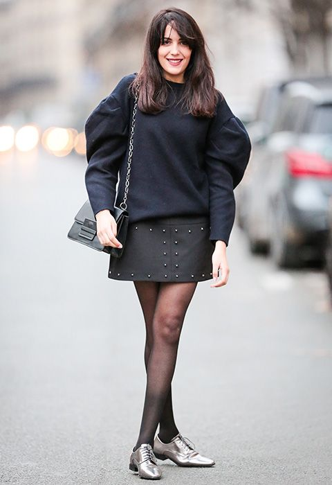 The charm's in the arm so choose a balloon-sleeve knit with a modern dropped shoulder in a classic shade like navy. Keep things smart in an A-line skirt or pair with a studded leather mini if your office vibes are a bit more chill. Add metallic brogues for a touch of festive spirit and finish with a structured chain cross-body to land that professional look