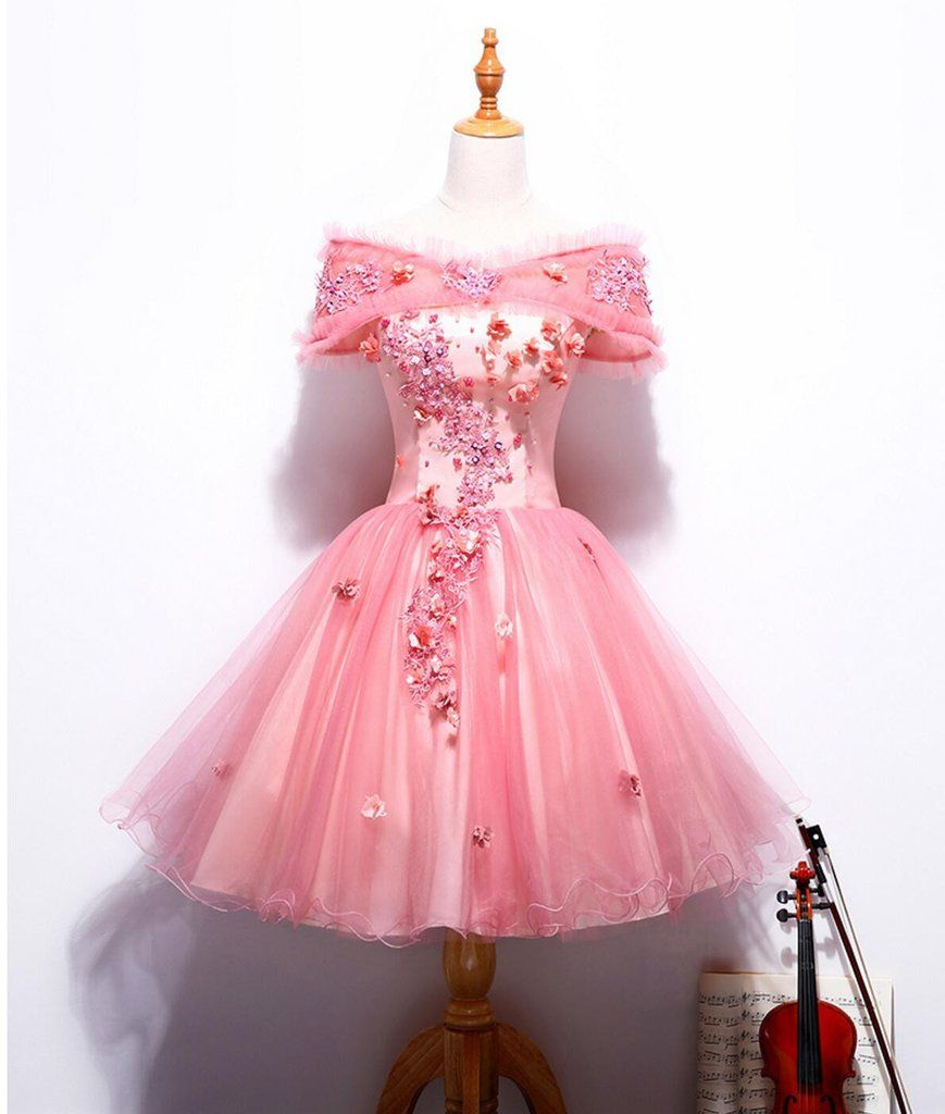 Off shoulder peach lace cute homecoming prom dresses affordable