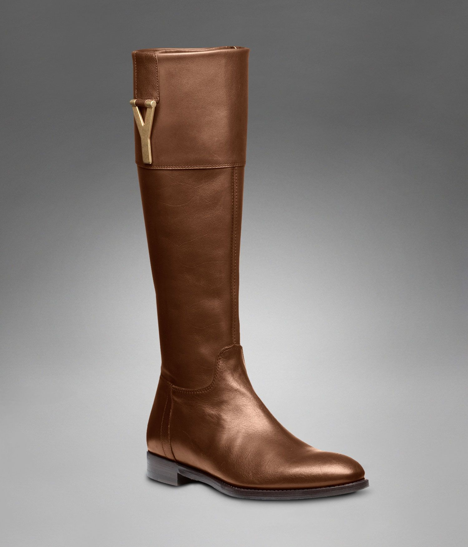 31f50f8ff41 YSL Chyc Riding Boot in Brown Textured Leather - Flats – Shoes – Women – Yves  Saint Laurent – www.ysl.com