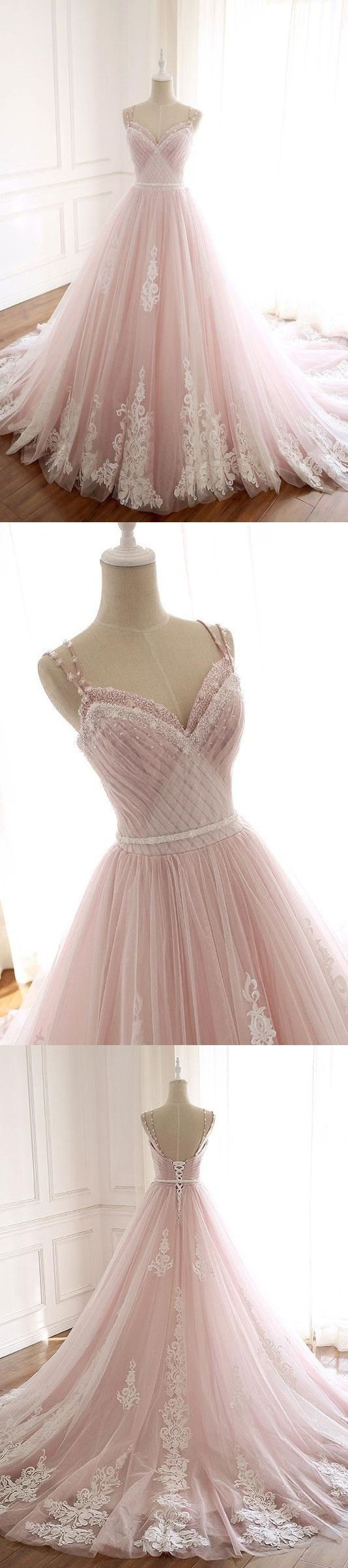 Pink sweetheart neck tulle long prom dress, lace tulle evening dress #promthings