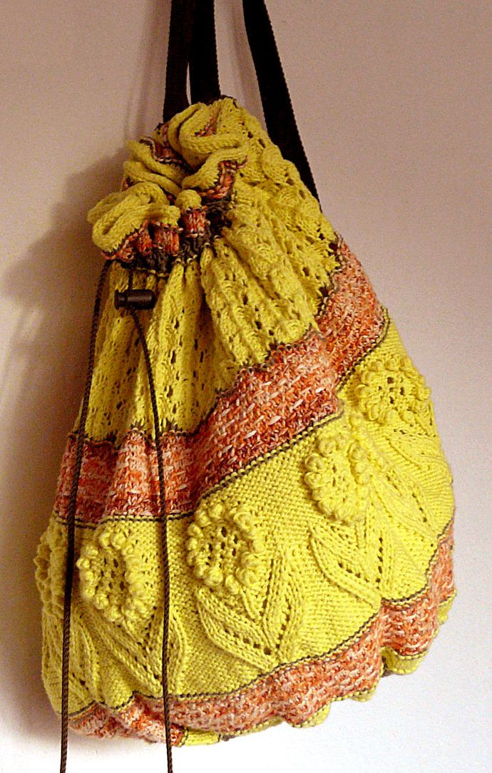 Free Knitting Pattern For A Day In The Park Backpack Drawstring