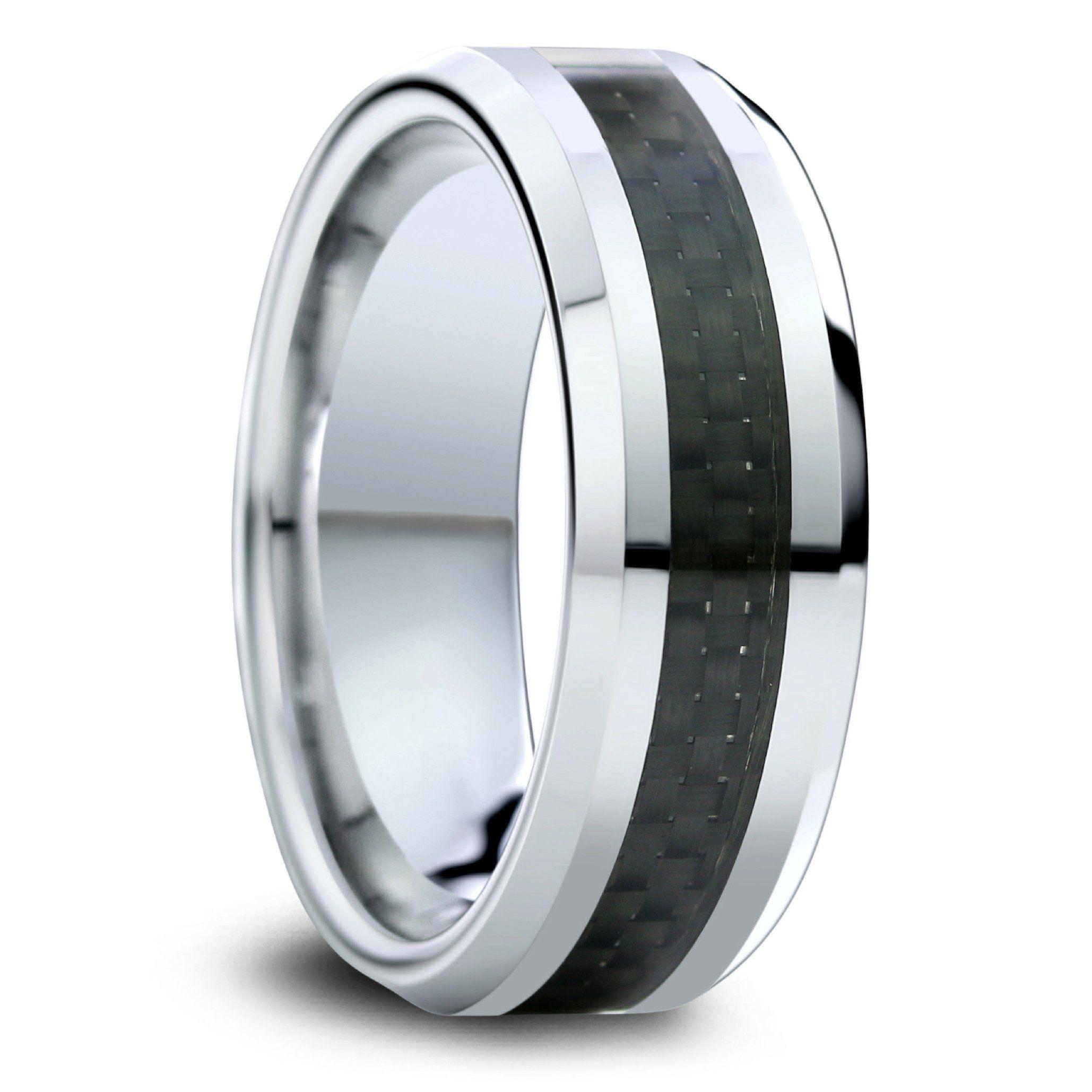 Mens Tungsten Wedding Band With Black Carbon Fiber Inlay
