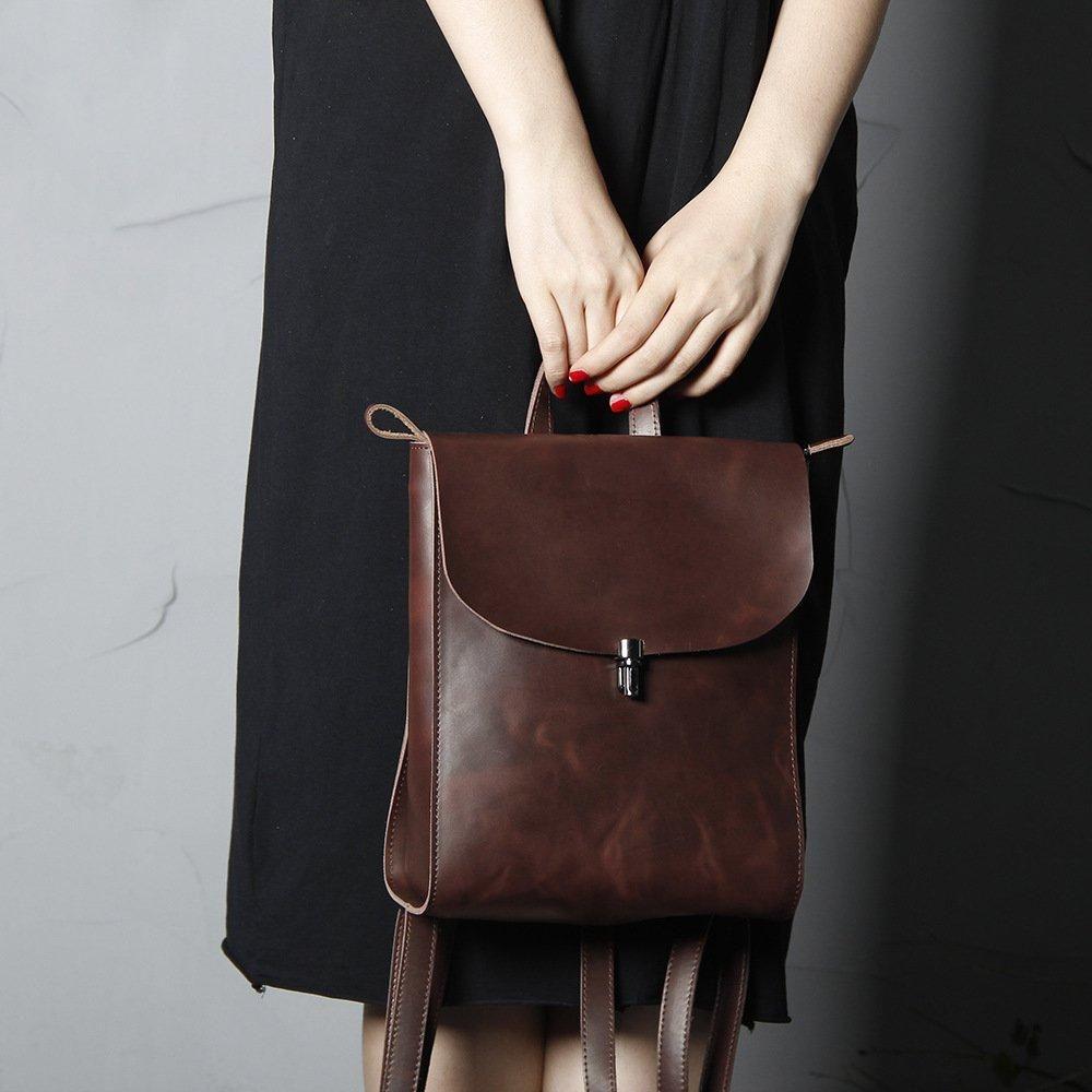 Handmade Full Grain Womens Leather Backpack Brown