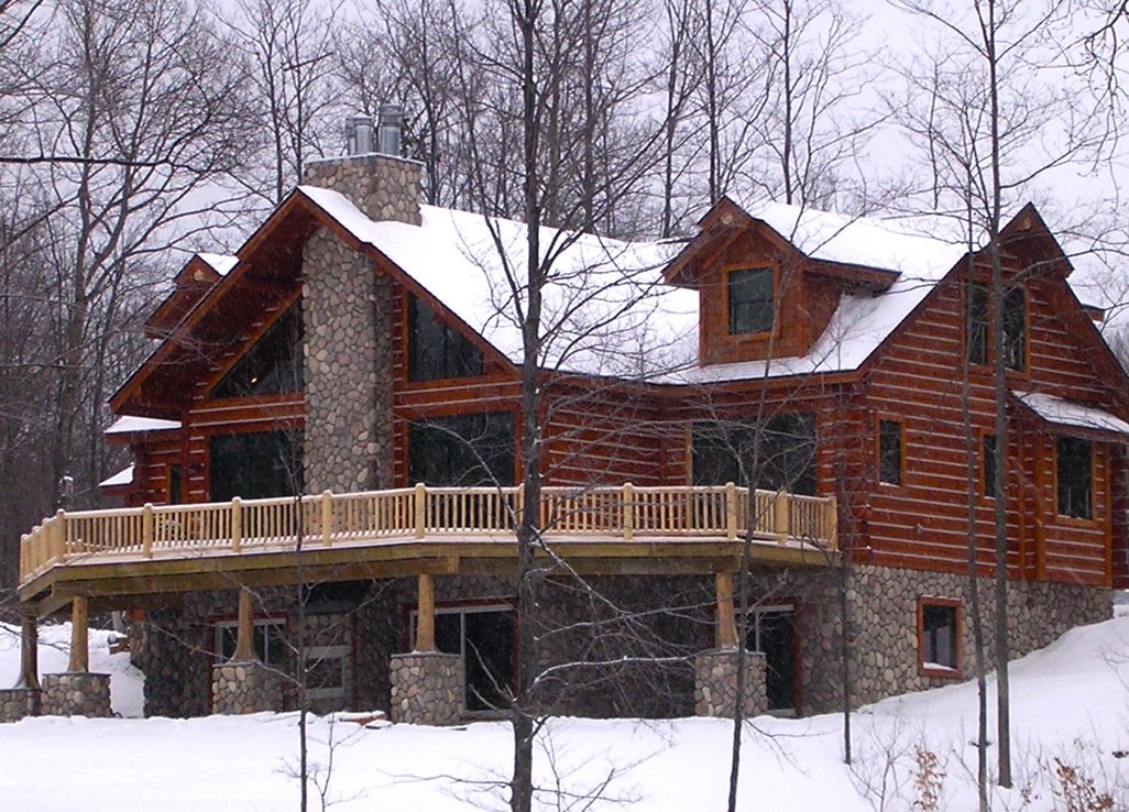 Hybrid Log Home With An Exposed Basement Hybrid Log By