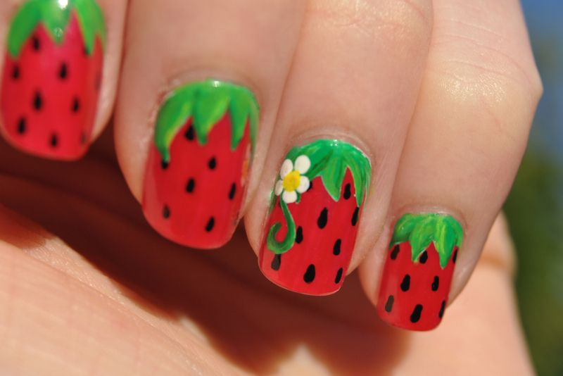 Strawberry Nails - might be cute for toenails @Brandi Diehl - Sweet Summer Strawberries Nailaholic Pinterest Nails, Nail Art