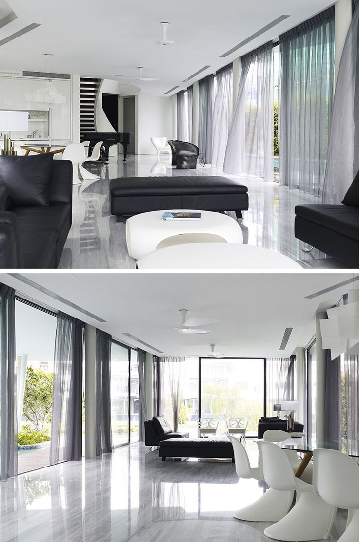 7 Contemporary Ideas For Window Coverings // CURTAINS -- Curtains provide privacy, block light, and act as an important decor piece in any room. They can be made from virtually any material, come in endless pattern possibilities, and can make a space feel open and airy or quiet and dark, depending on the thickness of the material used.