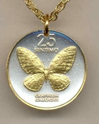 Butterfly necklace gold silver coin jewelry coin for Tattoo shops in bartlesville ok