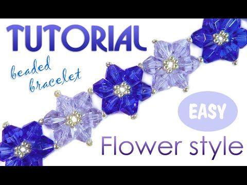 """Tutorial: Flower beaded bracelet using bicones / Как плести простой браслет """"Цветочки"""" - YouTube"""