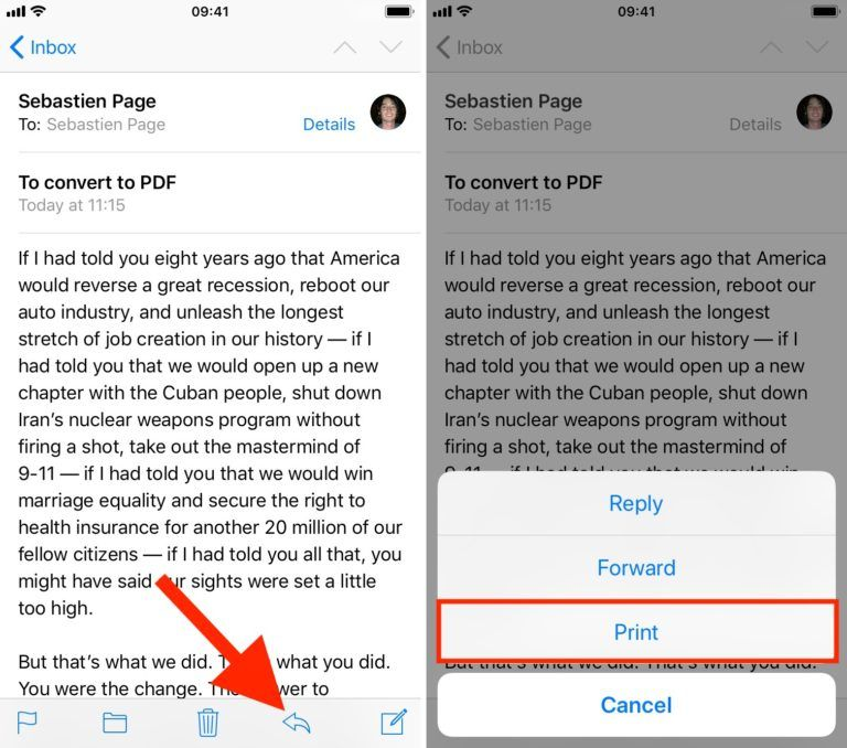 How to save your email as a PDF file on the iOS system