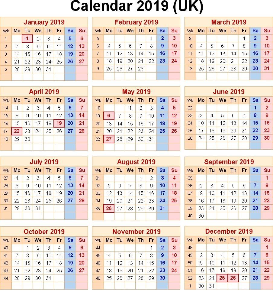 Calendar 2019 Uk With Bank Holidays   Free printable calendar
