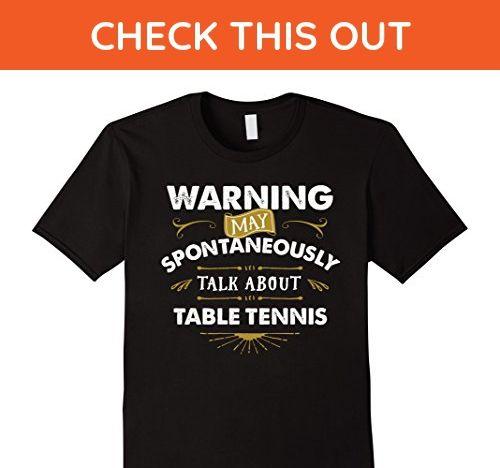 Mens Table Tennis T Shirt Warning Spontaneously Talk Table Tennis XL Black - Sports shirts (*Amazon Partner-Link)
