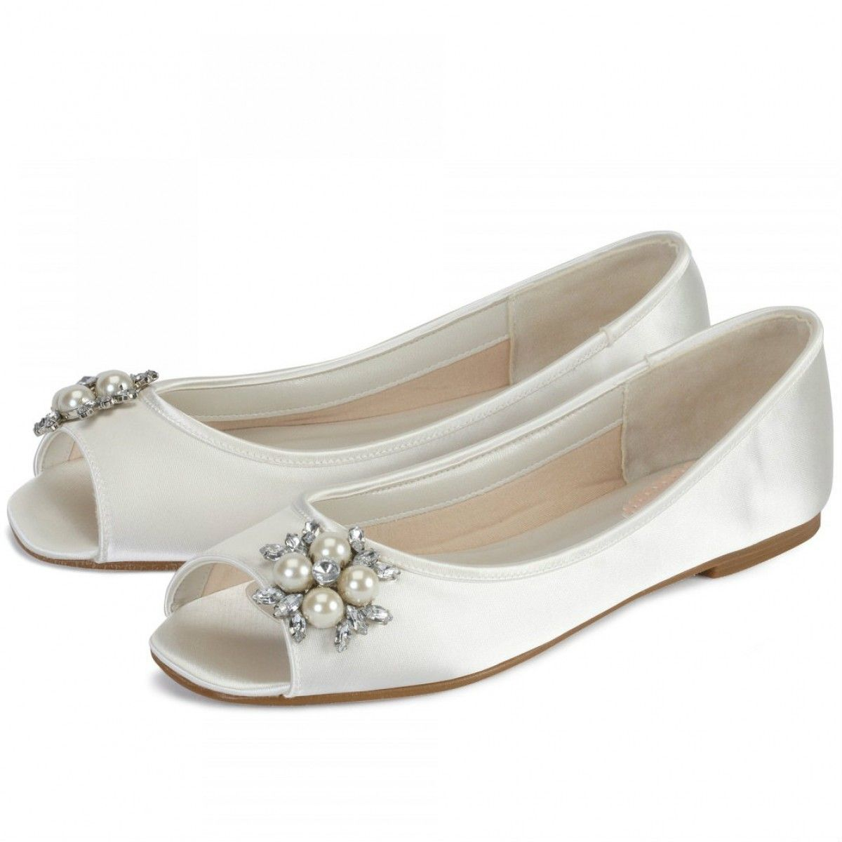 351247175379 Flower by Pink for Paradox London Ivory Dyeable Flat Wedding or Occasion  Shoes - SALE - Flats - Shoe by Heel Height - Wedding Shoes