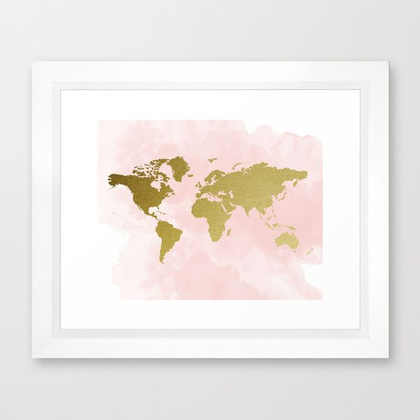 Gold world map poster framed art print nursery ideas baby gold world map poster framed art print gumiabroncs Image collections